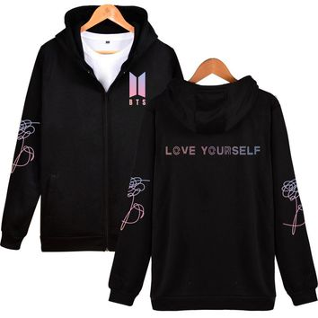 BTS LOVE YOURSELF zipper hoodie sweatshirt popular autumn and winter fashion hoodie male / female zipper DNA clothes