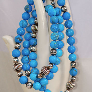 North American Turquoise Opera Length Necklace - 9mm Round Beads Interspersed with Fluted Silver Accent Beads