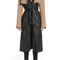 Alexander Wang Tie Front Leather & Twill Trench Coat | Nordstrom