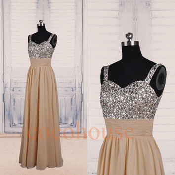 Champagne Beaded Long Prom Dresses 2015, Bridesmaid Dresses,Homecoming Dresses, Evening Dresses, Hot Party Dresses, Wedding Party Dresses