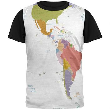 World Traveler Global Map Adult Black Back T-Shirt