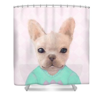 Portrait Of French Bull Dog Shower Curtain