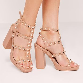 Missguided - Studded Block Heeled Sandals Nude