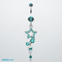 Star Sparkle Gem Curve Dangle Belly Ring