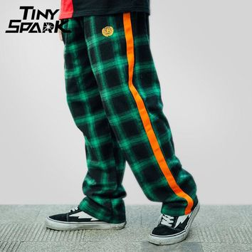 Men Hip Hip Pant Plaid Street wear Loose Jogger Sweat pant Oversize Casual Sweat Pant Track Trousers Striped Parkour Pant