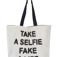 Designer Tote Bag for School - Take a Selfie Fake a Life