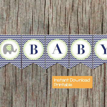 Baby Shower Decorations Printable Baby Shower Banner Navy Blue Lime Green Elephant INSTANT DOWNLOAD DIY Oh Baby Boy Baby Shower Party 044