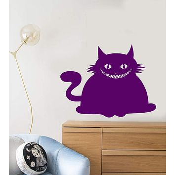 Vinyl Wall Decal Cheshire Cat Smile Crazy Pet Cartoon Nursery Room Stickers (2569ig)