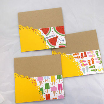 Summer Cards Set - Hand Made Greeting Cards - Handstamped Card - Flip Flop Card - Note Cards - Card Set- Blank Cards