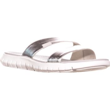 Cole Haan Zerogrand Two Strap Slide Sandals, Argento Silver/Optic White, 8 US