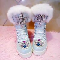 Handmade Custom Real Rabbit Fur Gemstone Boots