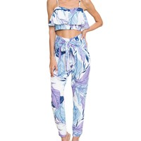 Colorful Leaf Print Crop Two-Piece Jumpsuit