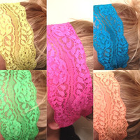 Soft Wide Stretch Lace Headbands Hair Neon Pink Orange Green Yellow Blue Yoga Fitness Workout Headbands No Mark Headaches DOLLAR SHIP in US