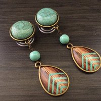 "9/16"" Turquoise Teardrop Dangle Plugs 1/2"" 00g Ear Plugs Wood Mint Chevron Pattern Dangly Gauges, Gauged Earrings"