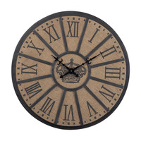 """26"""" Linen And Metal Crown Faced Clock"""