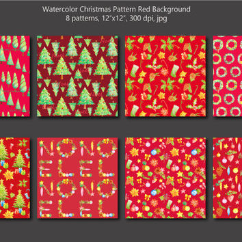 Watercolor Christmas pattern red theme digital background instant download