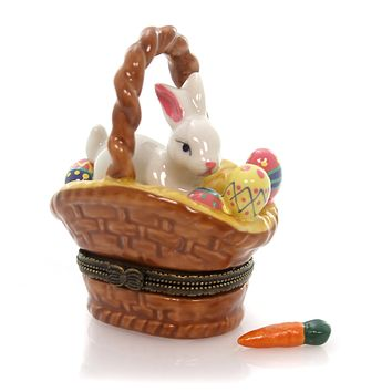Hinged Trinket Box BUNNIY IN BASKET Porcelain Easter Eggs Rabbit Eb742