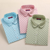 Brand New Cotton Women Shirts Long Sleeve Blouse Polka Dot Blusas Femininas 5XL Plus Size Turn Down Collar Women Tops 2016