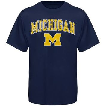 Michigan Wolverines Arched University T-Shirt - Navy Blue