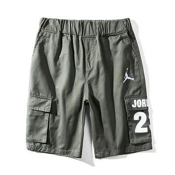 Jordan Summer Fashion New Letter Print Women Men Leisure Sports Shorts Green