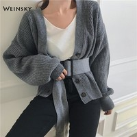 Weinsky Casual Women Knitted Jumpers Sweaters And Cardigans Ladies Autumn And Winter 2018 Ulzzang Oversized Sweaters