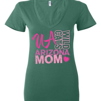 Official NCAA Venley University of Arizona Wildcats U of A Wilber Wildcat BEAR DOWN! Mom Heart Ladies Deep V-Neck - uofa2424