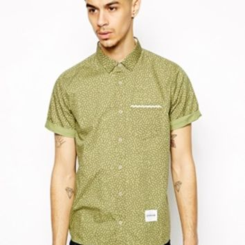 Supremebeing Shirt in Camo with Short Sleeves - Green