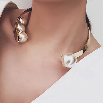 Pearl Open Cuff Collar Necklace