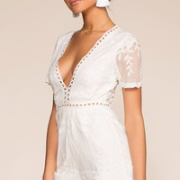 Tea And Biscuit Lace Romper - White