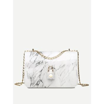 Marble Pattern Chain Bag White