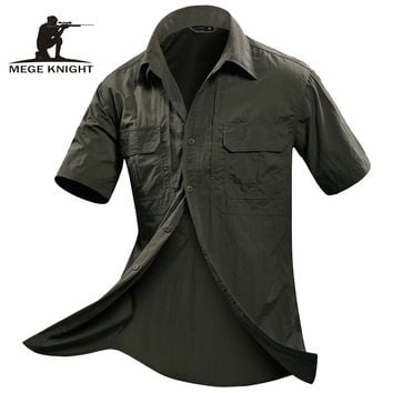 MEGE Summer Men Shirt Short Sleeve Military Shirt Mens Loose Fashion Casual Boss Shirt Vetement Homme Camisa Social Masculina