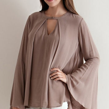 Solid Flare Jewel Neckline Cutout Blouse