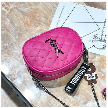 Women Rhombus Tassel Y Letter Metal Chain Single Shoulder Messenger Bag Small Round bag