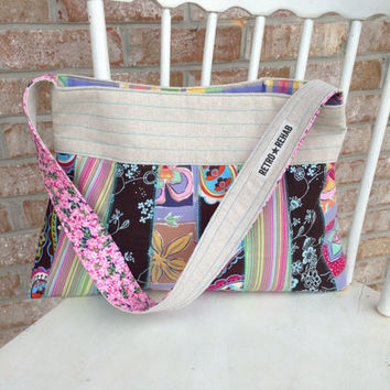 Ecofriendly MERRY Patchwork Purse, Quilted Bag, Vegan Purse -- Upcycled Recycled Repurposed