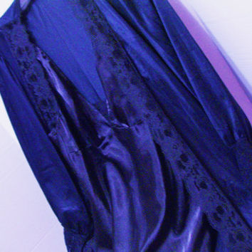 True Navy Short Robe and Night Gown Set Liquid Charmeuse Satin Morgan Taylor Honeymoon Resort Cruise wear