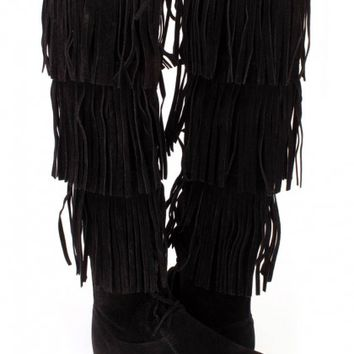 Black Fringe Tiered Knee High Boots Faux Suede