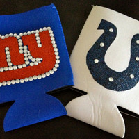 NFL Team Spirit Rhinestone Glitter Koozie- NY Giants Indianapolis Colts