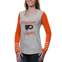 47 Brand Philadelphia Flyers Women's Dugout Slim Fit Long Sleeve T-Shirt - Ash/Orange
