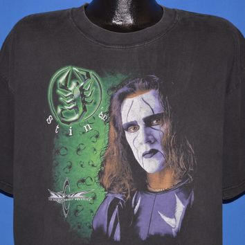 90s WCW Sting Back in Black Wrestling t-shirt Extra Large