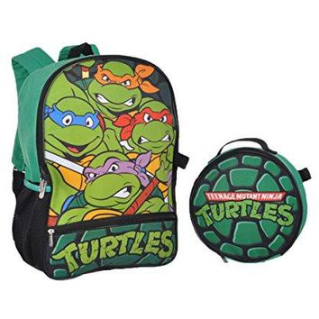 Nickelodeon Boys' Teenage Mutant Ninja Turtles Backpack with Lunch Kit, Green