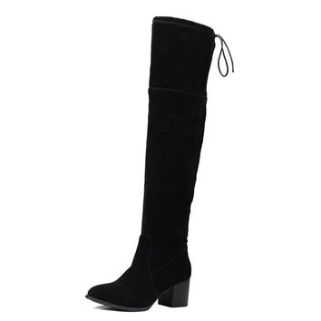 Suede Boots Square Heel up to Size 15 (28cm EU 46)