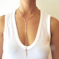 Long Coin Circle Lariat Necklace