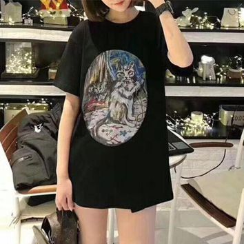 DCCKXT7 Gucci' Women Fashion Casual Oil Painting Cat Pattern Print Letter Short Sleeve T-shirt Top Tee