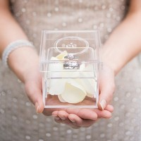 Monogrammed Heart Personalized Lucite Wedding Ring Box