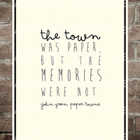 INSTANT DOWNLOAD John Green Paper Towns Memories Quote Poster