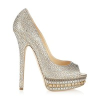 Champagne Leather and Crystal Platform Pumps | Cruise 2013 | JIMMY CHOO Shoes