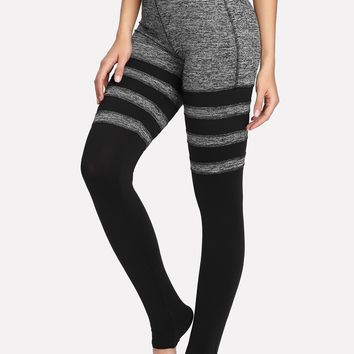 Two Tone Striped Stirrup Leggings