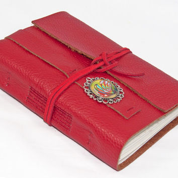 Red Leather Journal with Lined Paper and Heart Cameo Bookmark