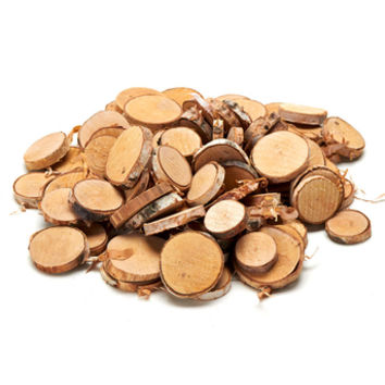 """17.6 oz Bag of Small Natural Wood Slices - 1.25-2.5"""" Wide"""