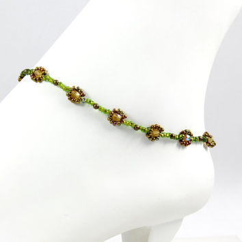 Daisy Chain Anklet Beaded Green Bronze Anklet Bracelet Seed Bead Jewelry